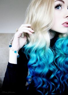 Blonde and blue hairstyle