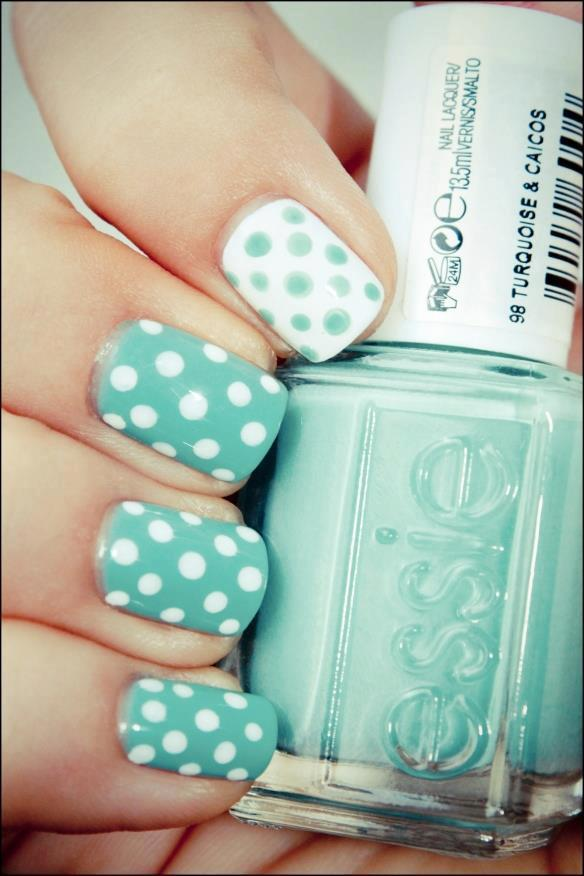 Baby blue dotted nail design