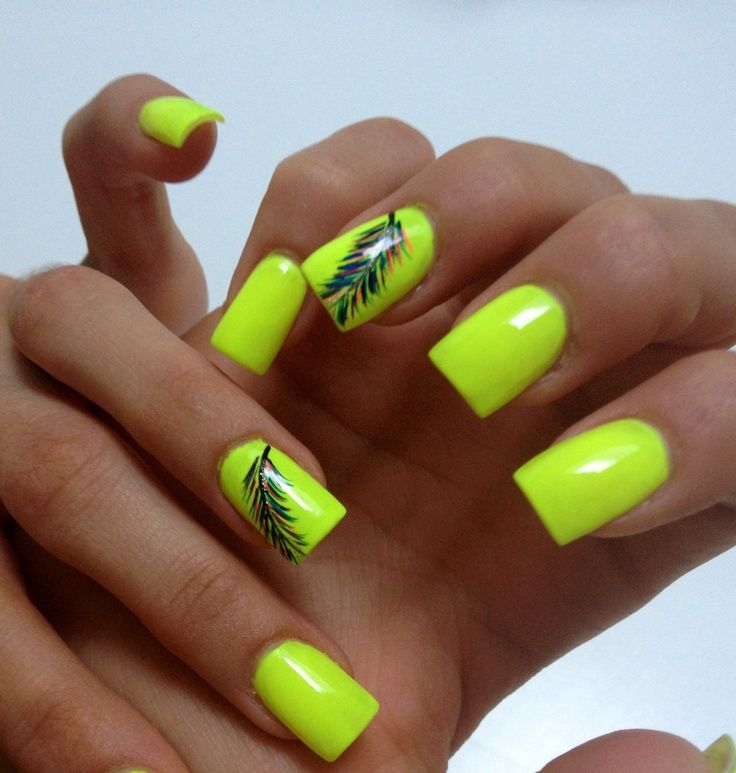 Neon nail design with feathers