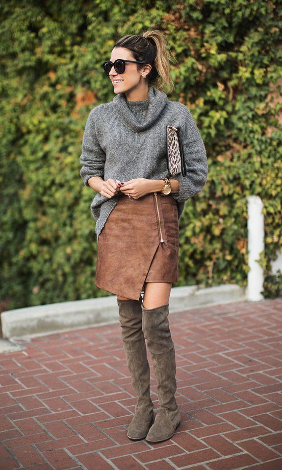 gray sweater-uneven skirt and knee-high boots via