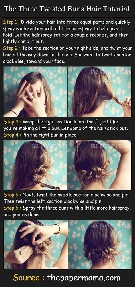 Three twisted buns hair tutorail