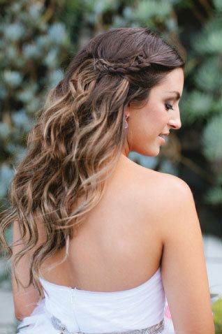 Long wavy hair with a subtle braid