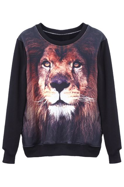 Tiger Head Black pullover - the latest street fashion 2014