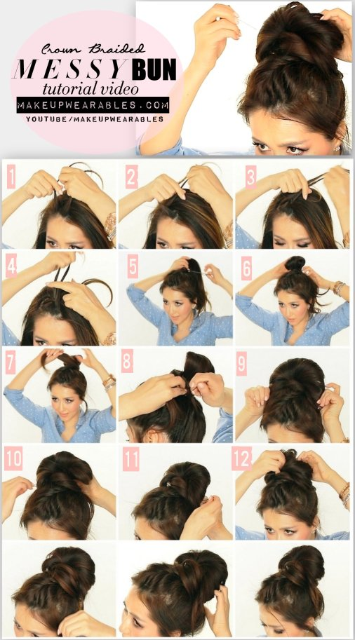 Messy Crown Braided Bun Tutorial