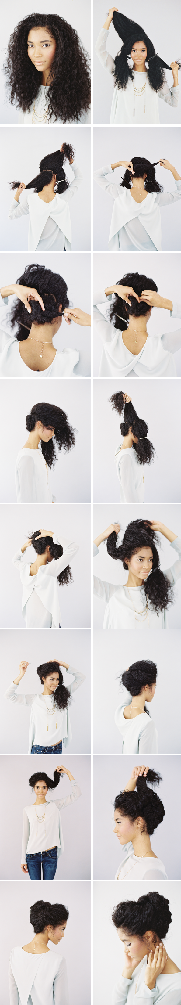 Simple updo for long curly hair