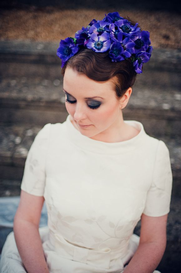 Vintage flower bun bridal hairstyle over