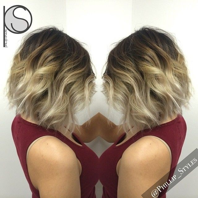 Textured blonde bob haircut for ombre hair