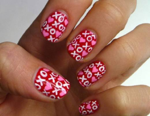 XO love letter nails