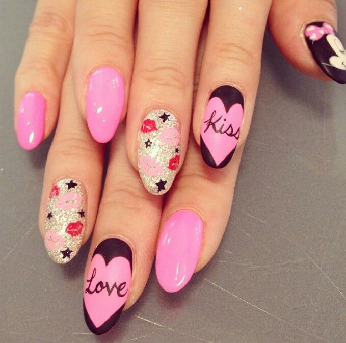 Love letter stiletto nails