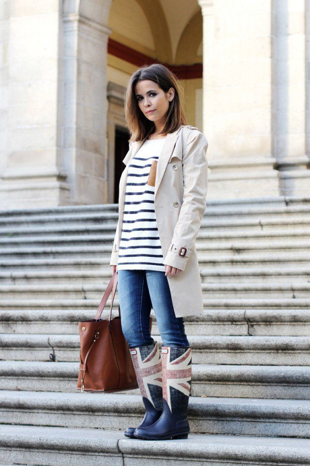 Rainy boots with a beige trench coat