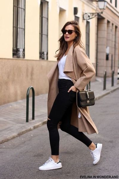 Long coat and white shoes
