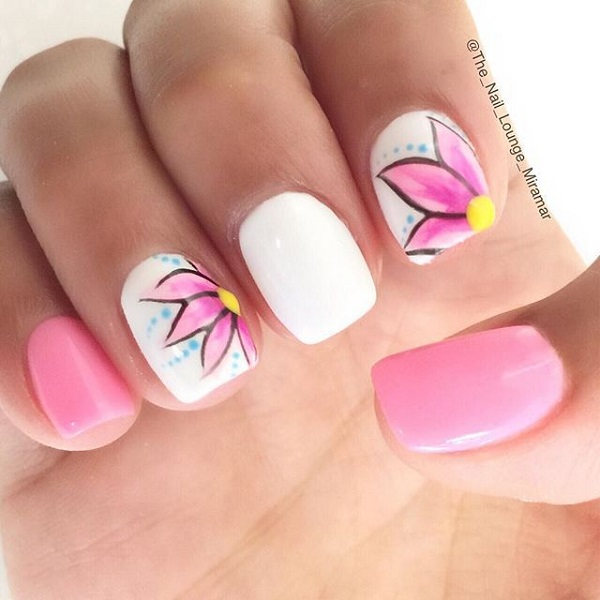 Beautiful white and pink nail design
