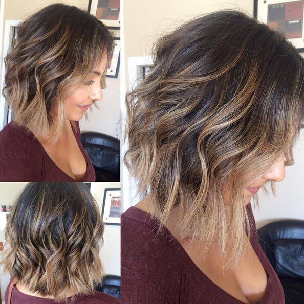 Ombre wavy bob hairstyle