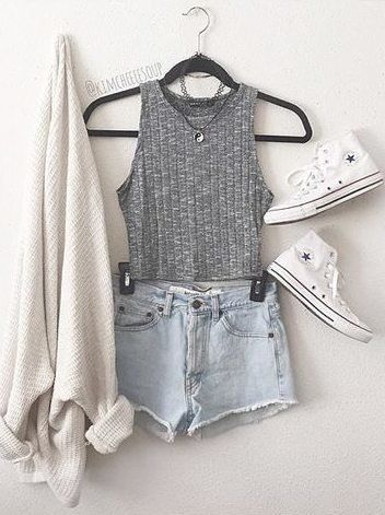 Gray vest and shorts over