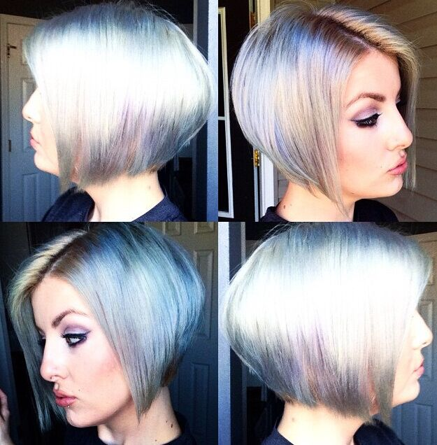 Stylish colored short bob hairstyle