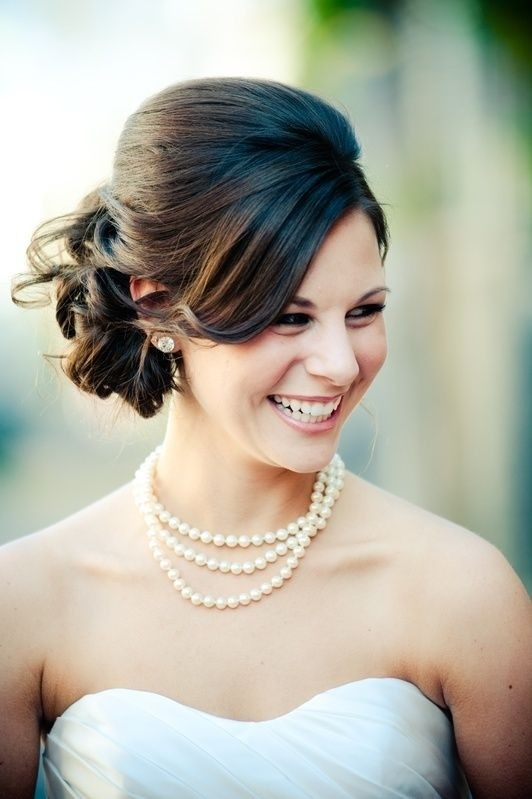Beautiful bride updo for medium length hair