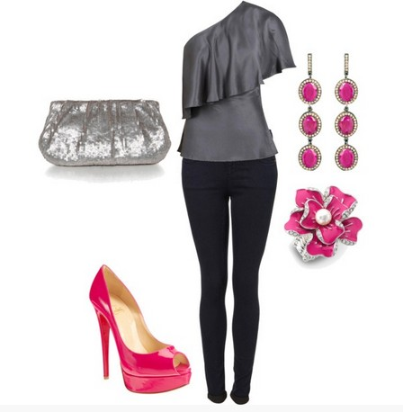 Layered one-shoulder top outfit with pink pumps