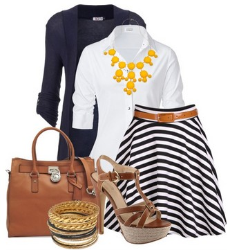 The white button-length skirt with buttons for spring outfit ideas