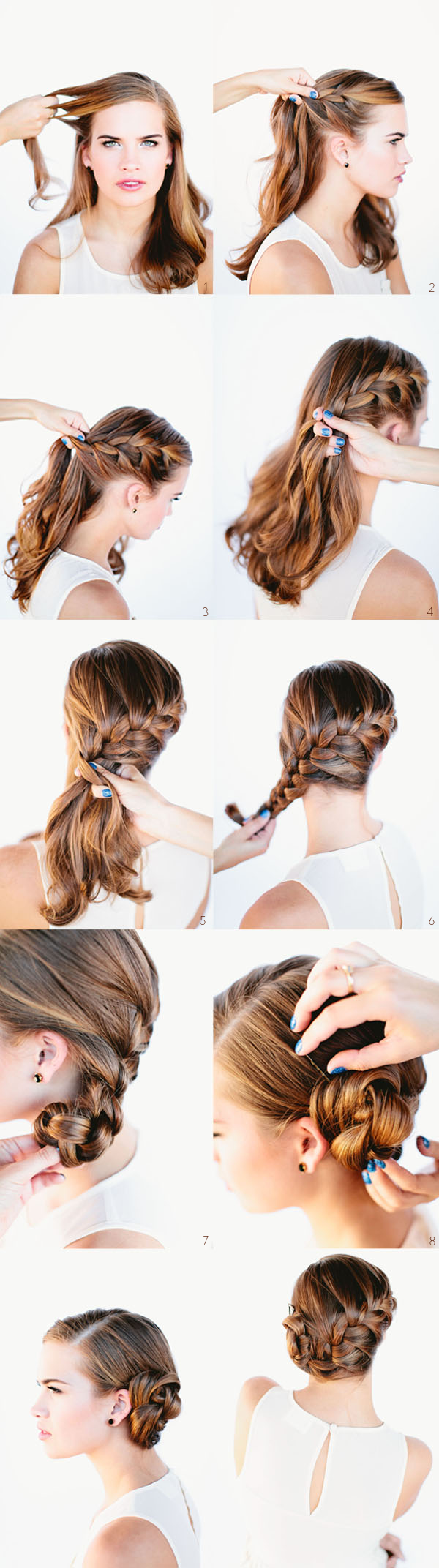 Side swept braided hairstyle tutorial