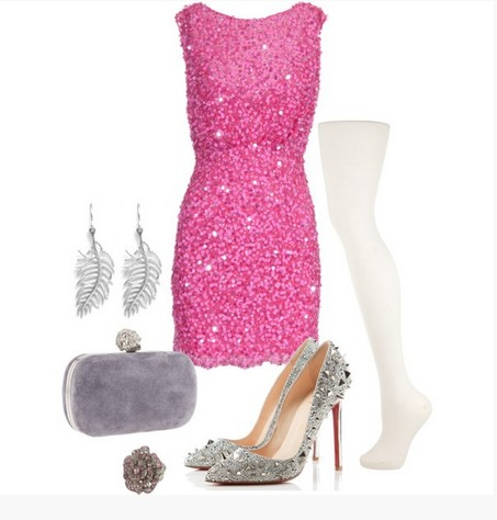 A light pink combination for the New Year look, sequin coset dress with sequin pumps