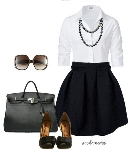 white shirt, small black skirt and black sandals