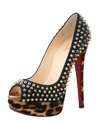 Christian Louboutin Lady Spike platform platform pump with leopard print