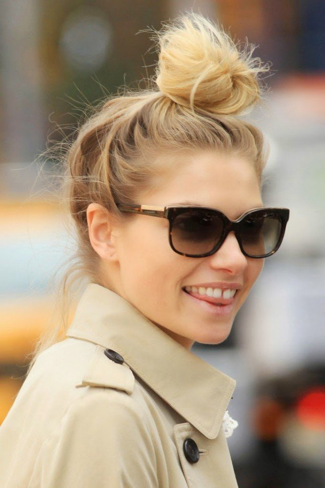 Cute top bun hairstyle for young women
