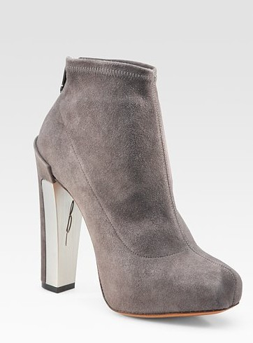 Edeline Gray Stretch Suede Ankle Boots ($ 450)