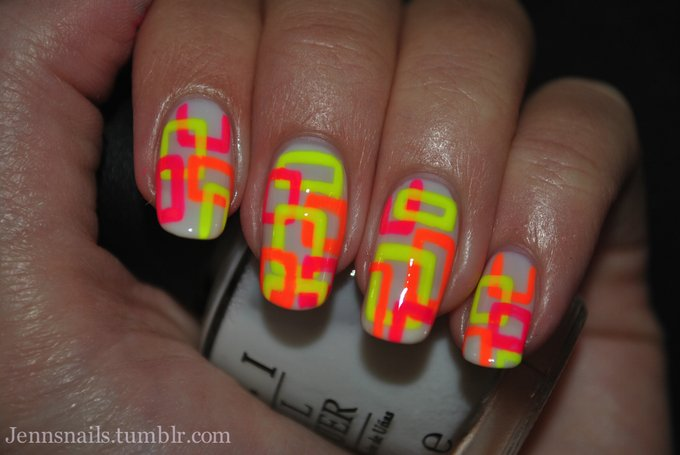 Stylish neon nails