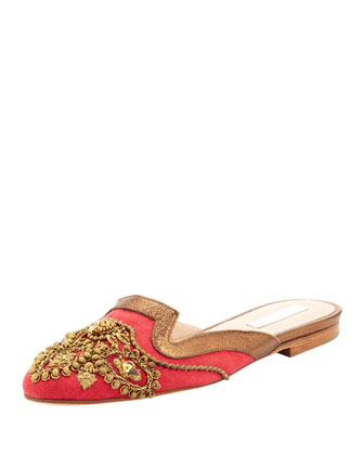 Oscar de la Renta Spanish mule with sequins, red & gold