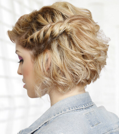 Braided rope hairstyle for medium hair