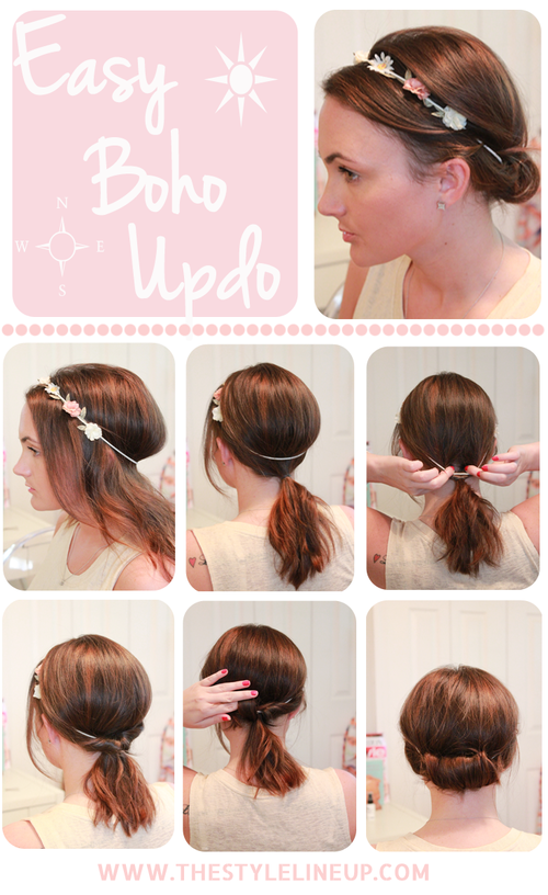 Simple boho updo hairstyle tutorial