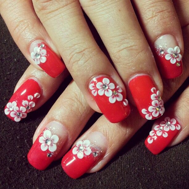 3D flower nail art design | 3d flower nails, Floral nails, Flower .