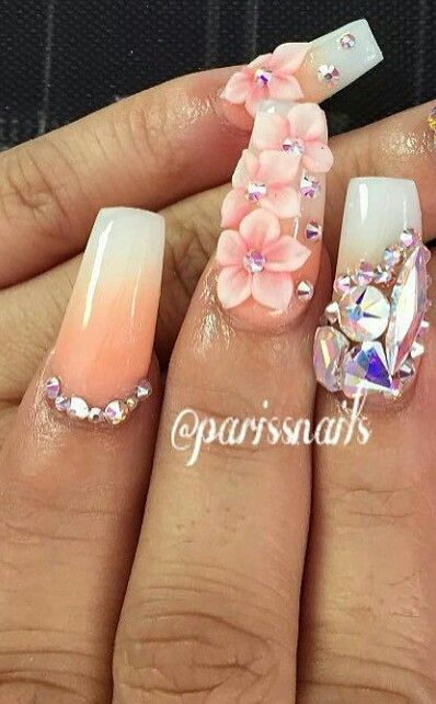 Pink pastel rhinestone ombre floral nailart flower nails design .