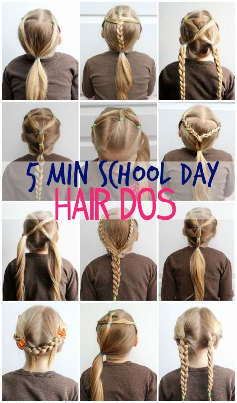 5 Minute Hairstyles for School | Girl hair dos, Little girl .