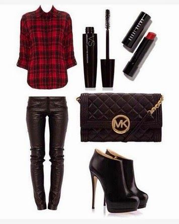 Casual Plaid Outfit, plaid shirt, scalf, Skinnies Plaid-Outfit-Red .