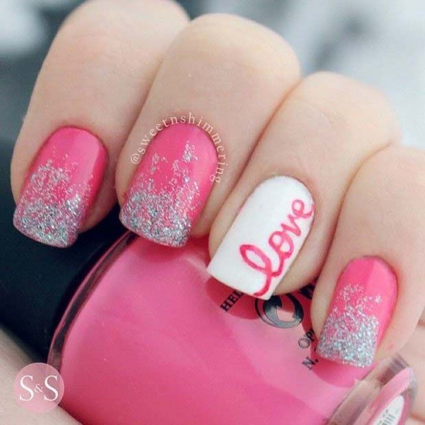 Adorable Valentine's Day Nail Ideas with cursive love, pink and .
