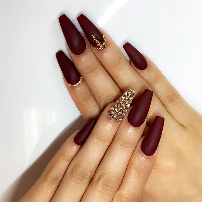 30 Amazing Burgundy Nail Designs for Women 2019 | Maroon nails .