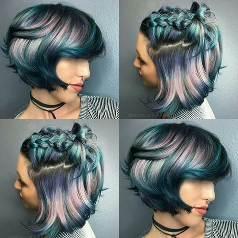 cool colored hair, gray, holographic | HAIR | Short hair styles .