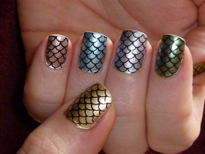 16 Amazing Fish Scale Nail Ide