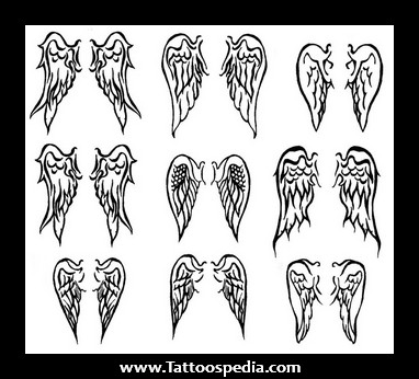 Small Angel Wing Tattoos Designs For Girls On Ba