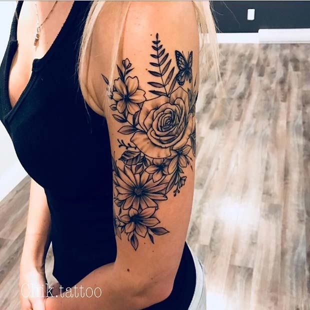 13 Flower Tattoo Ideas for Every Women | Arm tattoos for women .