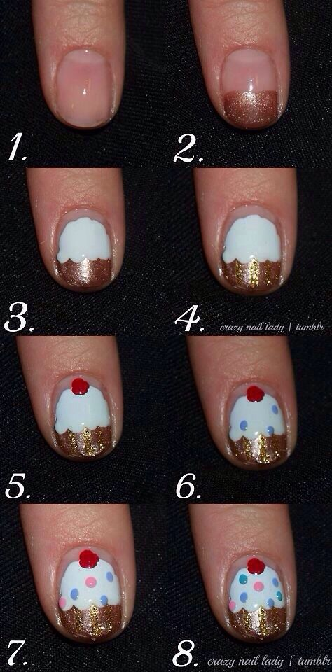 Easy Cupcake Nails Step By Step | Girls nails, Little girl nails .