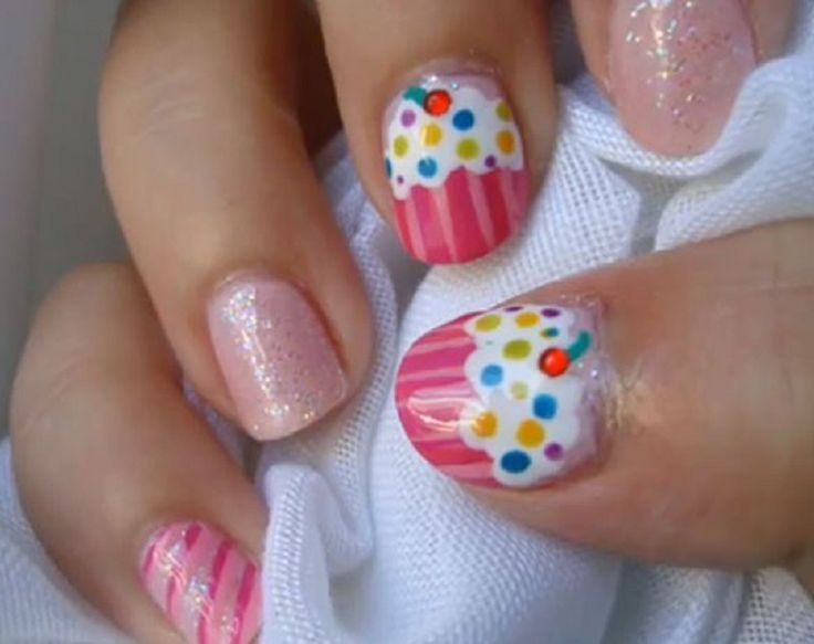14 Awesome Cupcake Nail Art Designs for Girls | Cupcake nail art .