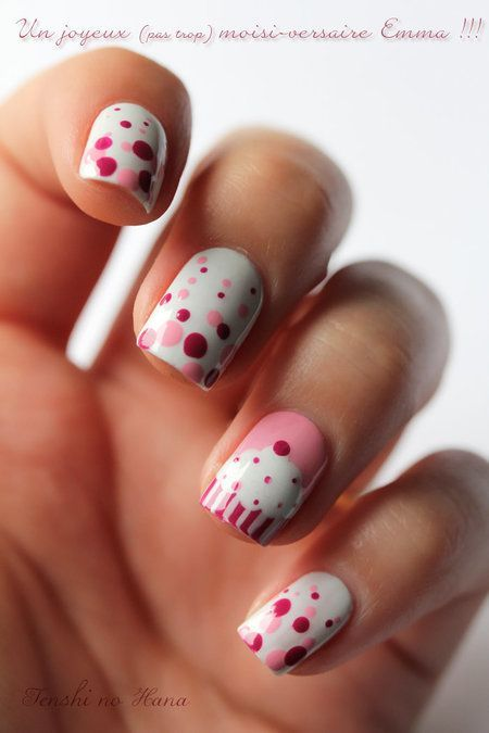 14 Awesome Cupcake Nail Art Designs for Girls | Roze nagel .