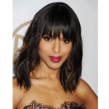 Amazon.com : AISI HAIR Wavy Bob Wigs with Bangs for Women Black .