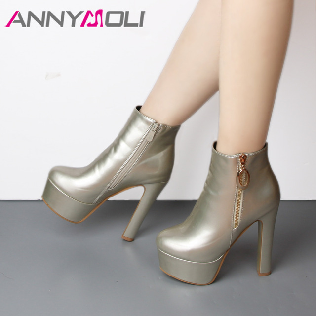 beautiful shoes for girls: ANNYMOLI Ankle Boots Women Winter 20