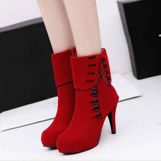 Beautiful Fashion Women Boots new black shoes Ankle Boots Platform .