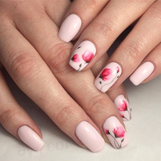 50 Beautiful Floral Nail Designs For Spring - Page 9 of 50 - Chic .