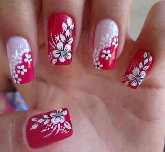easy-flower-nail-art-for-spring-flower-red-white | Nail art .